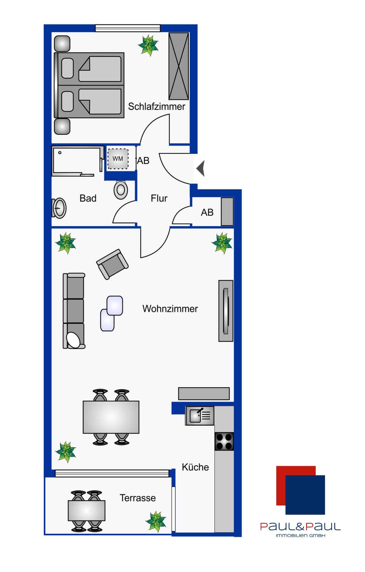 Grundriss Rugenbarg 2Zimmer-Wohnung