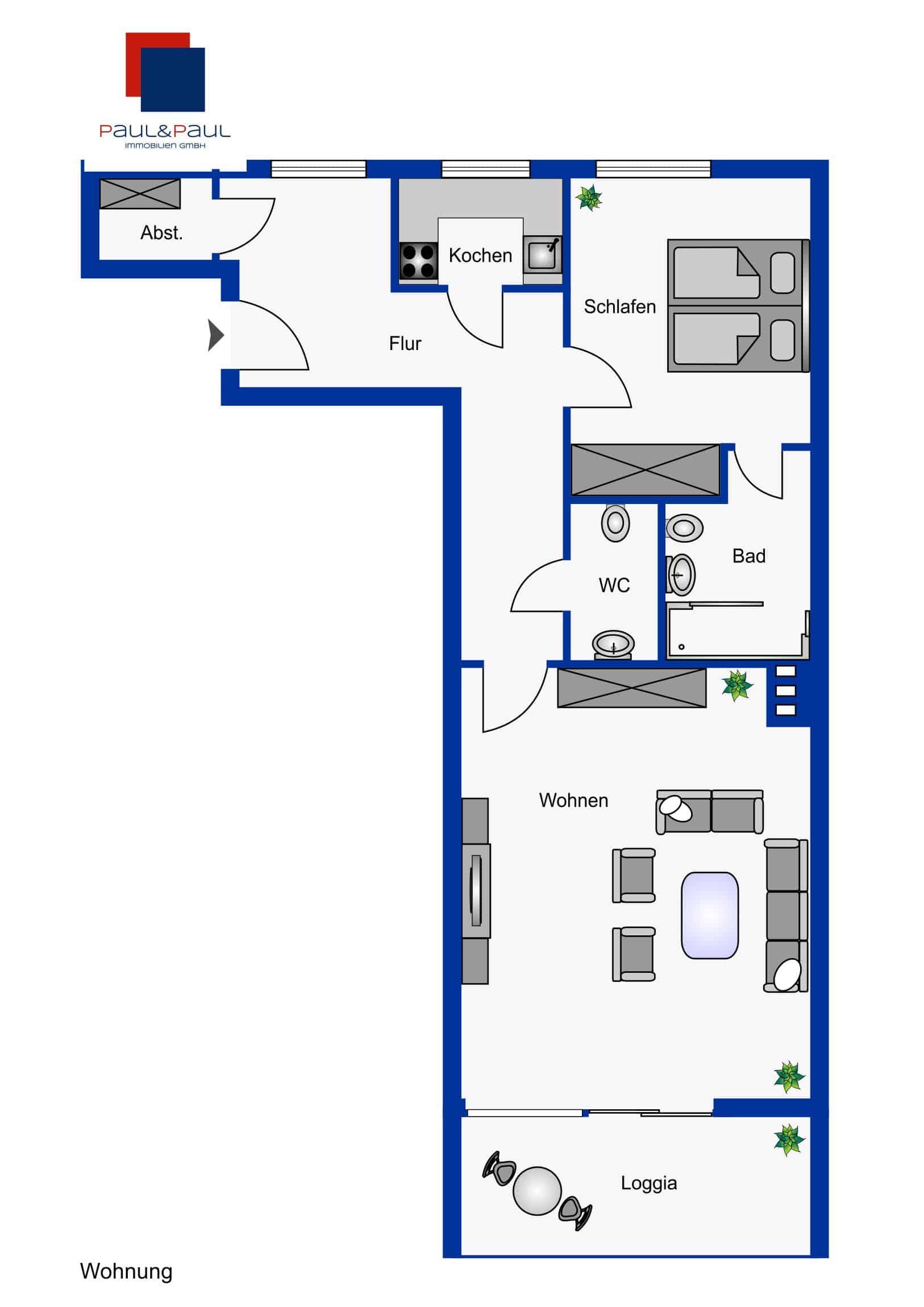 Grundriss 2 Zimmer-Wohnung