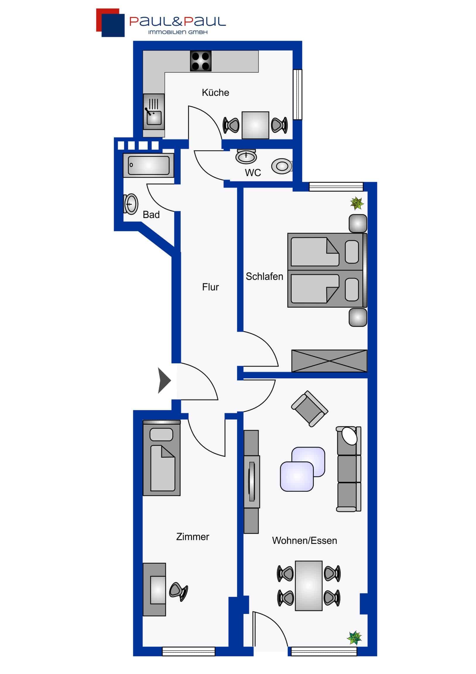 Grundriss 3 Zimmer Wohnung in Hamburg Winterhude - ohne Makler