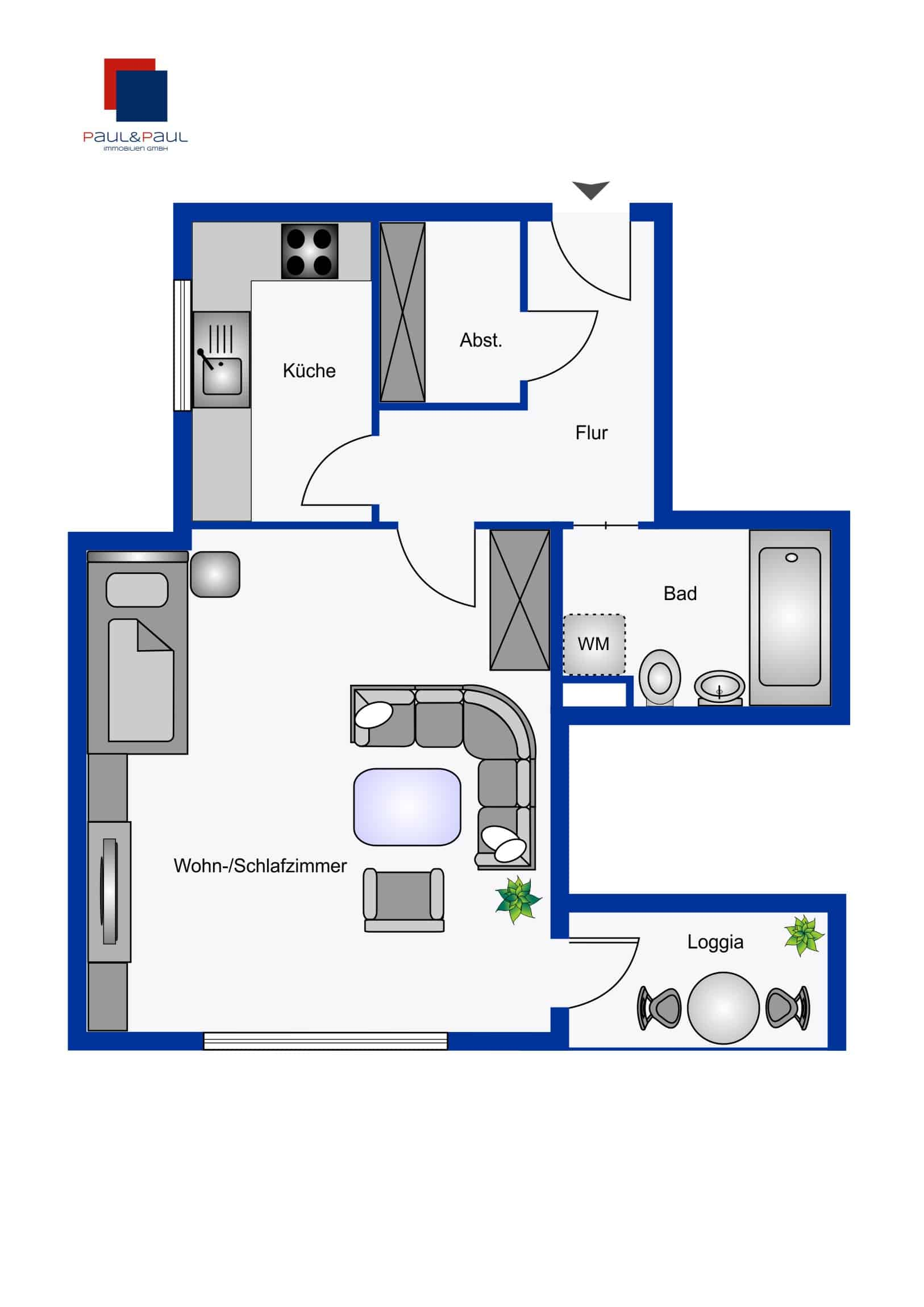 Provisionsfrei: 1 Zimmer Wohnung nahe UKE, Grundriss
